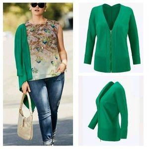 Cabi Banner Green Zip Front Sweater, Medium